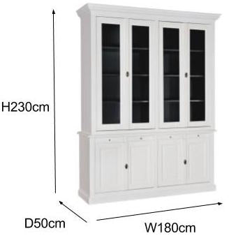 Windsor White Glass Cabinet Mesurments