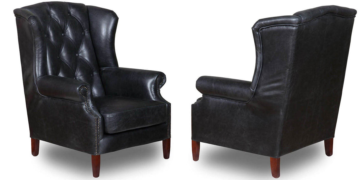 Wing Cerato Black Leather Armchair