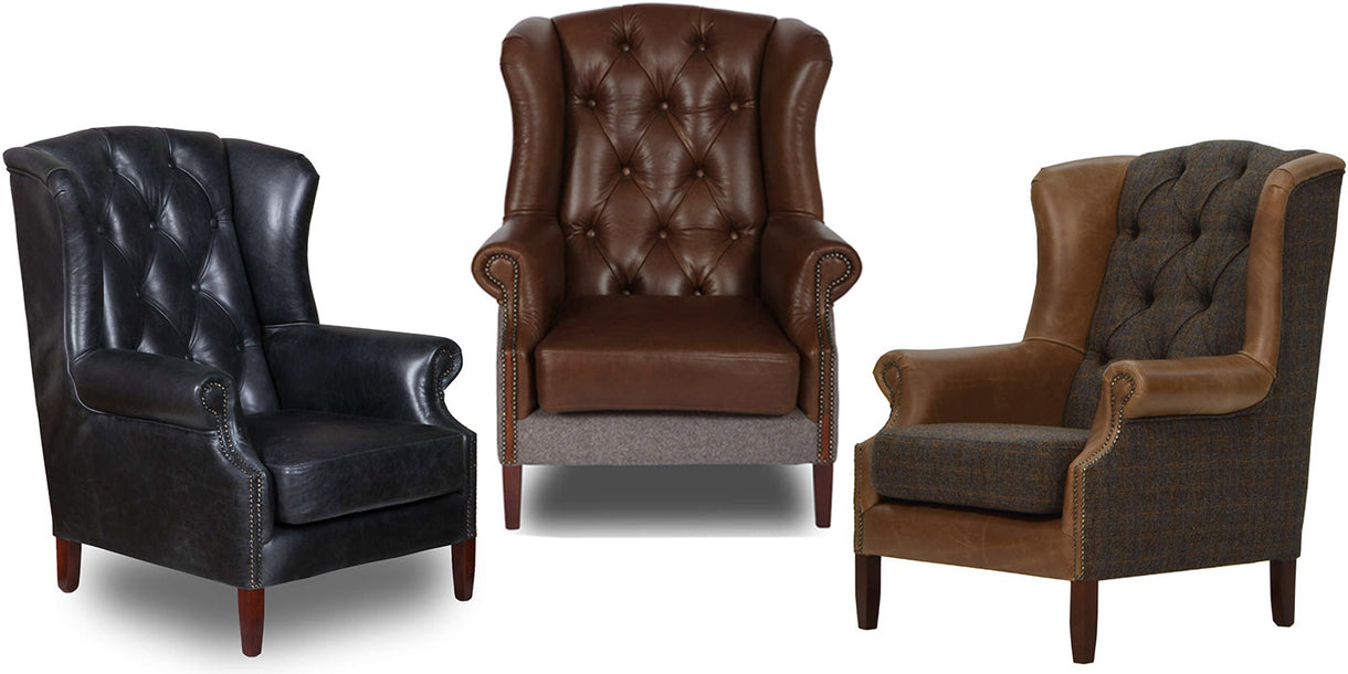 Wing Armchairs in Leather and Wool