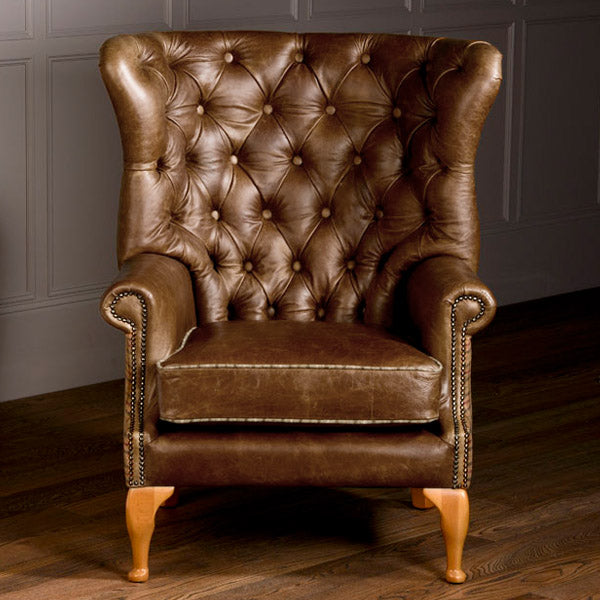 Brown Leather Armchair Wing Wrap Style