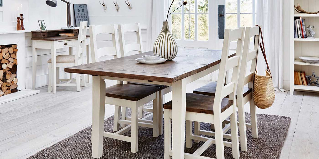 Worcester Reclaimed Wood Dining Table and Chairs in Rustic Kitchen