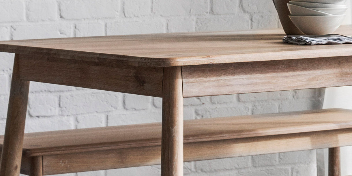 Hudson Living Wycombe Oak Dining Table Close up