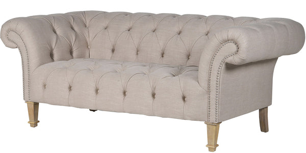 York Cream Buttoned Sofa