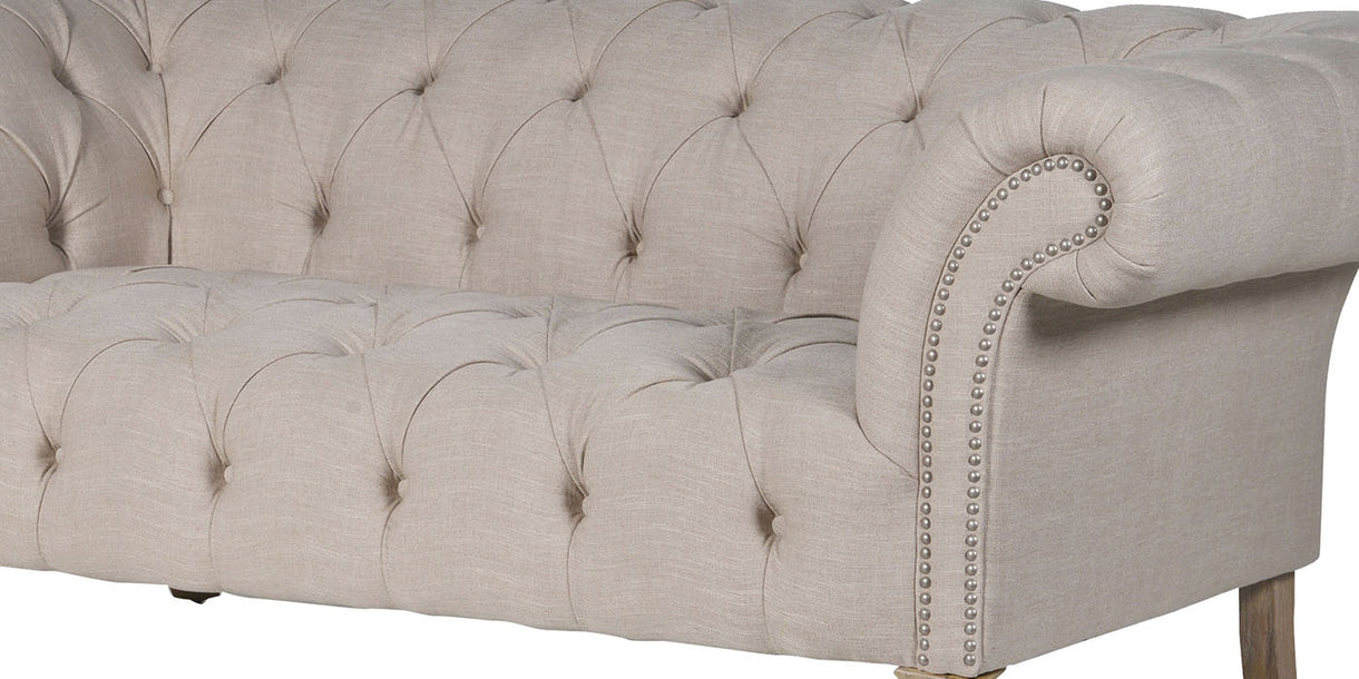 York Cream Buttoned Chesterfield Sofa detail