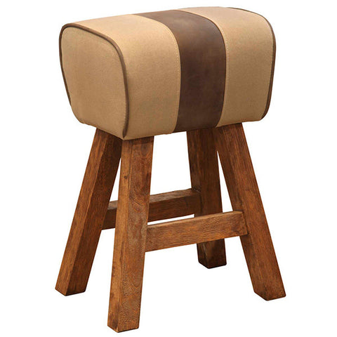 Pommel Canvas Bar Stool with leather stripe and wooden legs