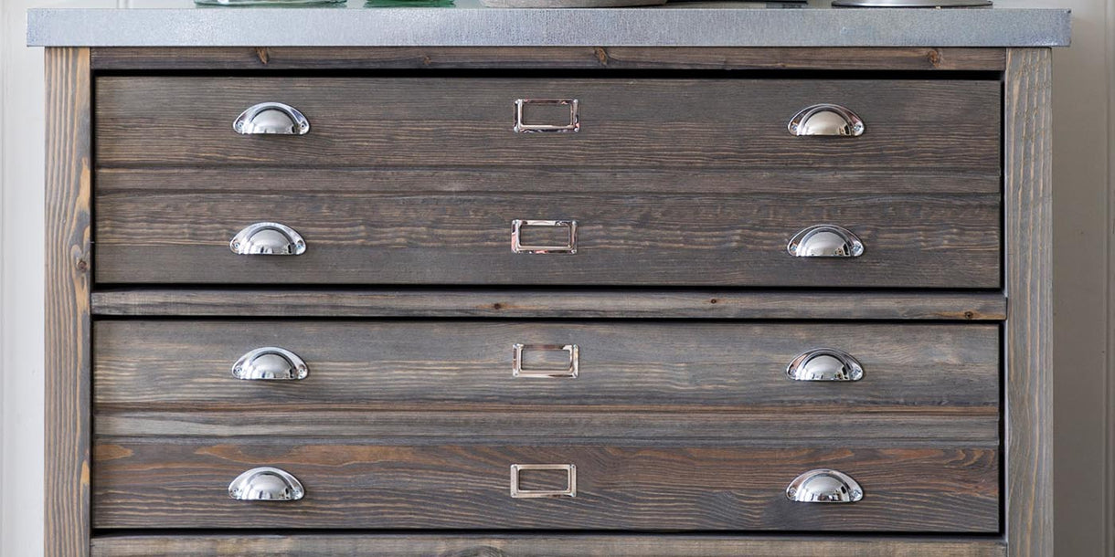 Zinc Top Architect's Chest of Drawers