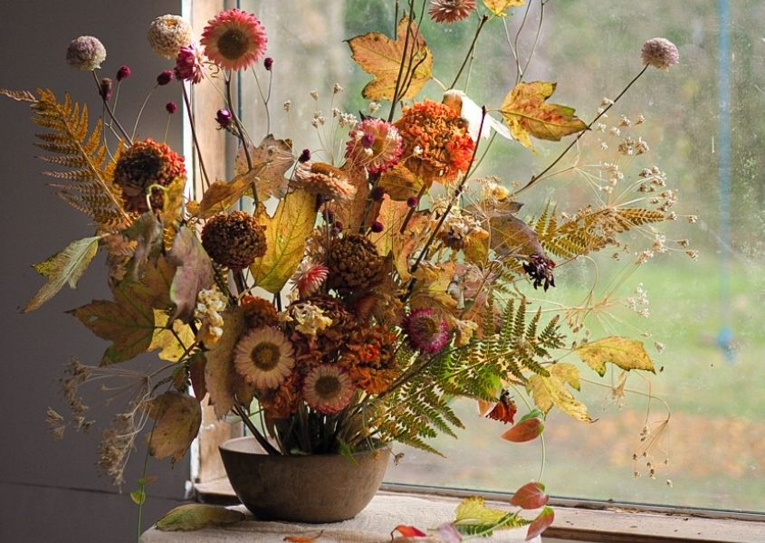 Vase of dried flowers in front of window