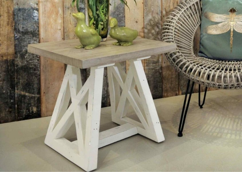 Reclaimed wood side table with white trestle legs