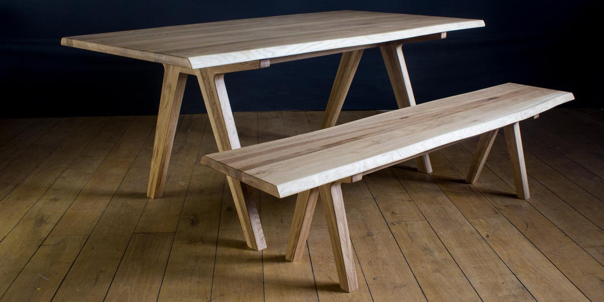 Allegro Live Edge Oak Dining Table and bench