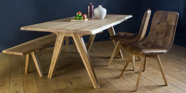 Allegro Live Edge Oak Dining Table with Dining Chairs