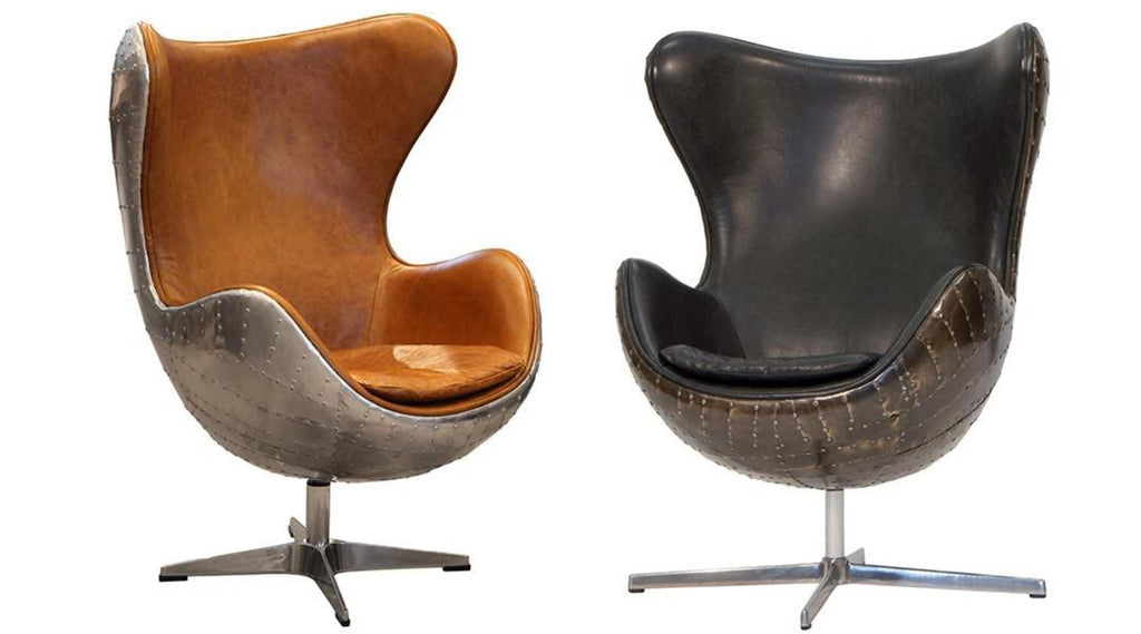 Brown leather and grey leather aviator chair
