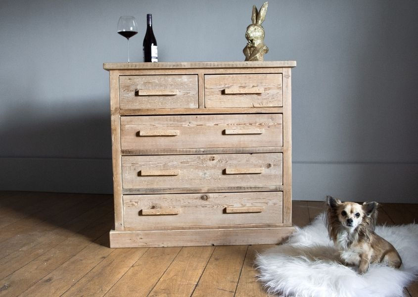 Reclaimed wood chest of drawers with small dog of sheepskin rug on the floor