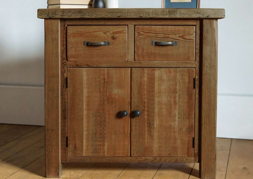 Small wooden sideboard with two cupboards and two drawers