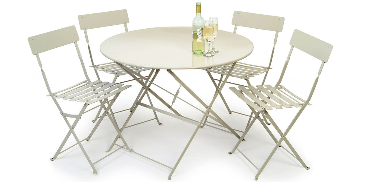 Garden Bistro Set Table & 4 Chairs in Clay with wine