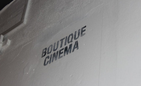 Wall in Cafe used as a Boutique cinema