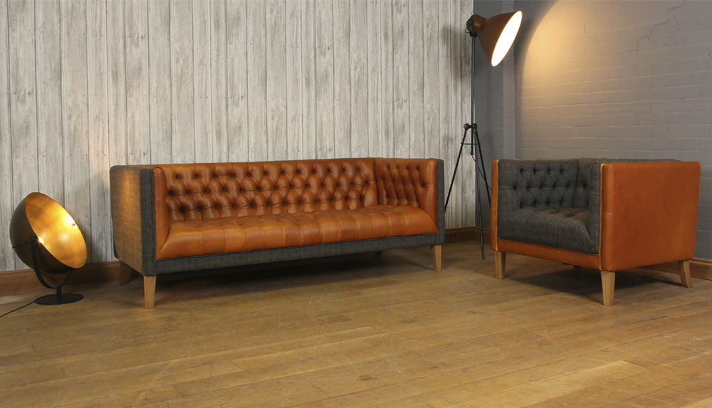 Bristol leather sofa and armchair in harris tweed