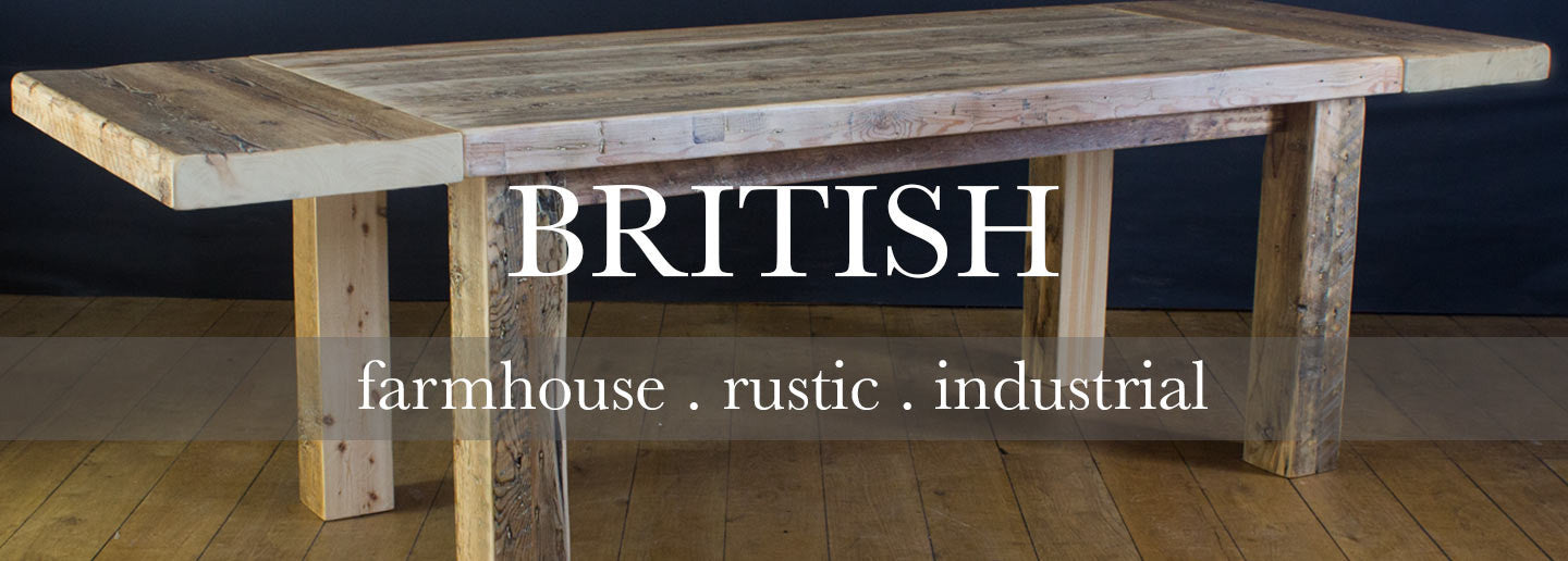 British Made Dining Tables using Reclaimed Wood, Oak and Steel