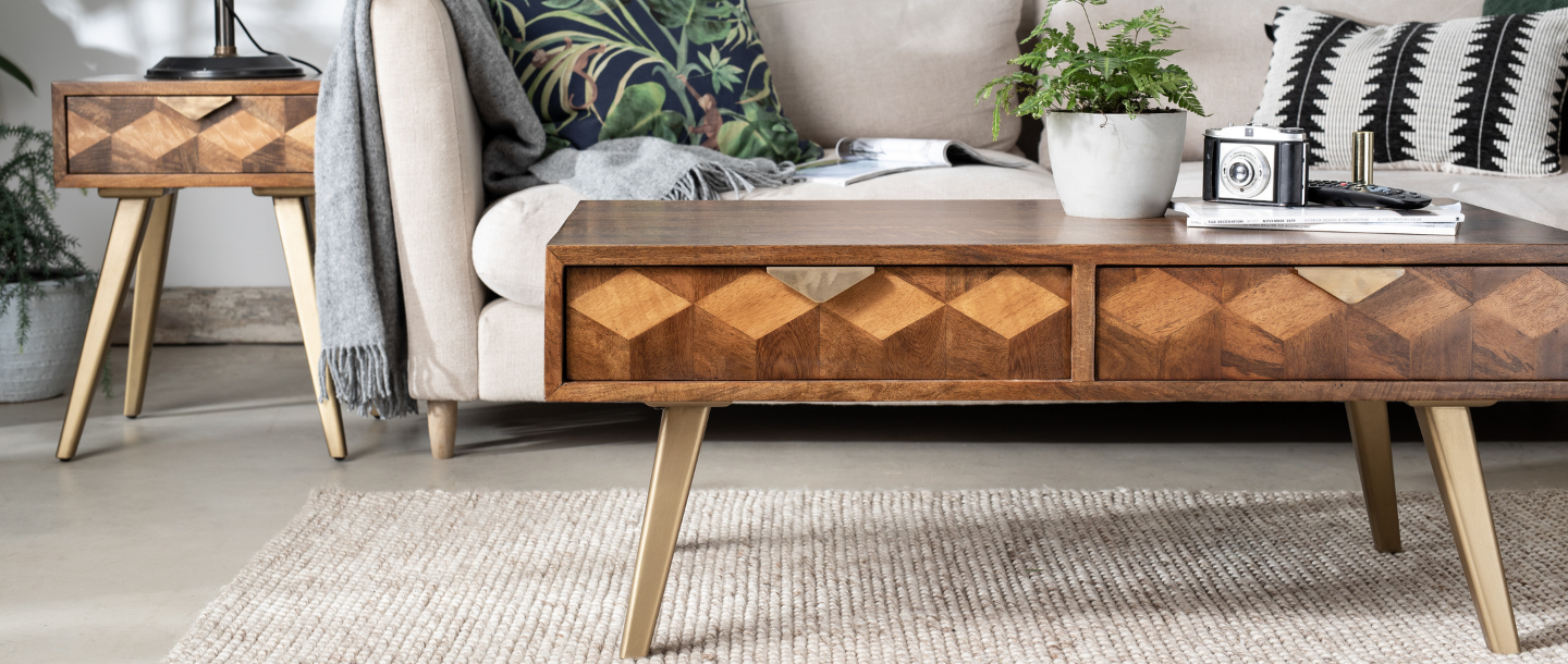 mango wood coffee table with cream sofa and matching mango wood side table