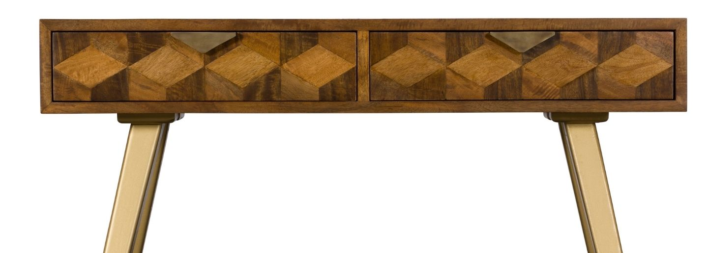 wooden dressing table with two drawers and geometric pattern