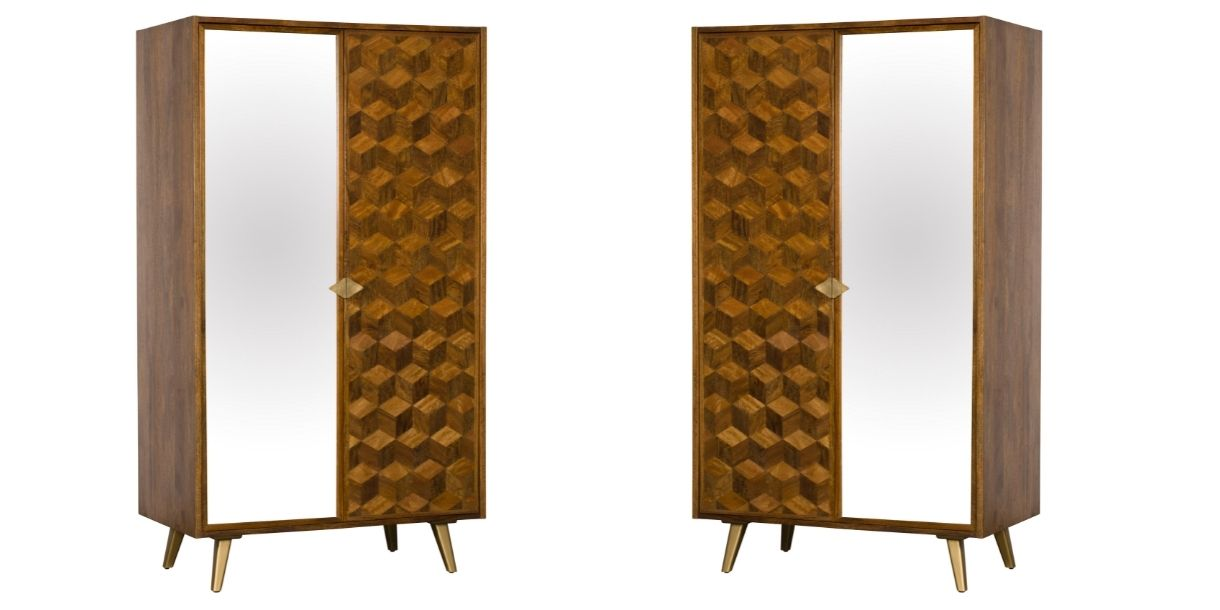 solid wood wardrobe with front mirror panel