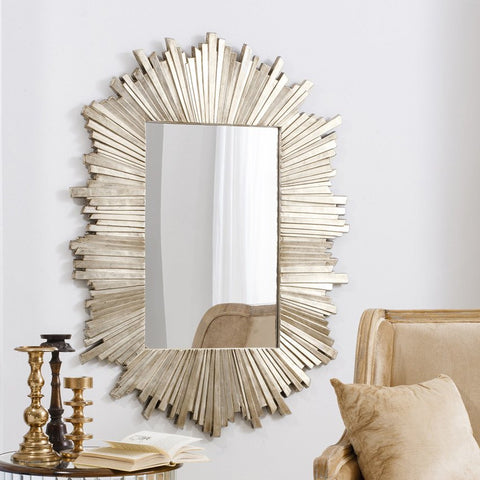 Celestial Gold Mirror in Living Room with candle holders