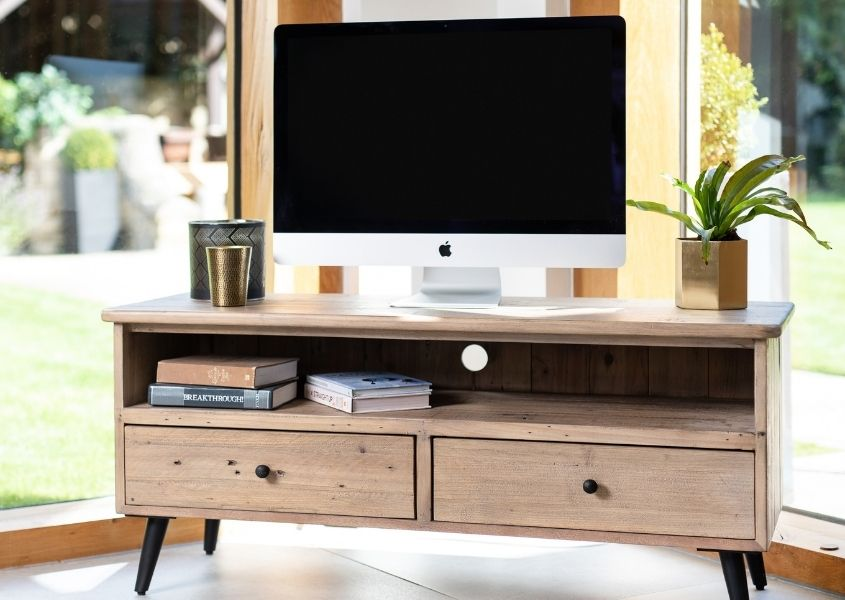 Reclaimed wood rustic tv stand with Mac screen on top