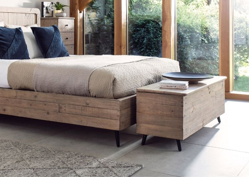reclaimed wood blanket box and wooden bed frame
