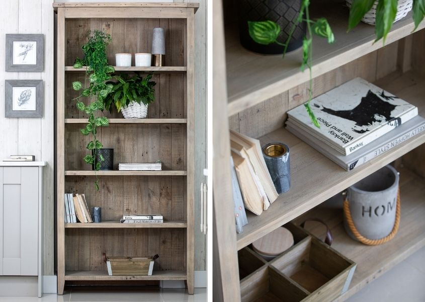 Two images of same reclaimed wood bookcase with assortment of books, plants and ornaments