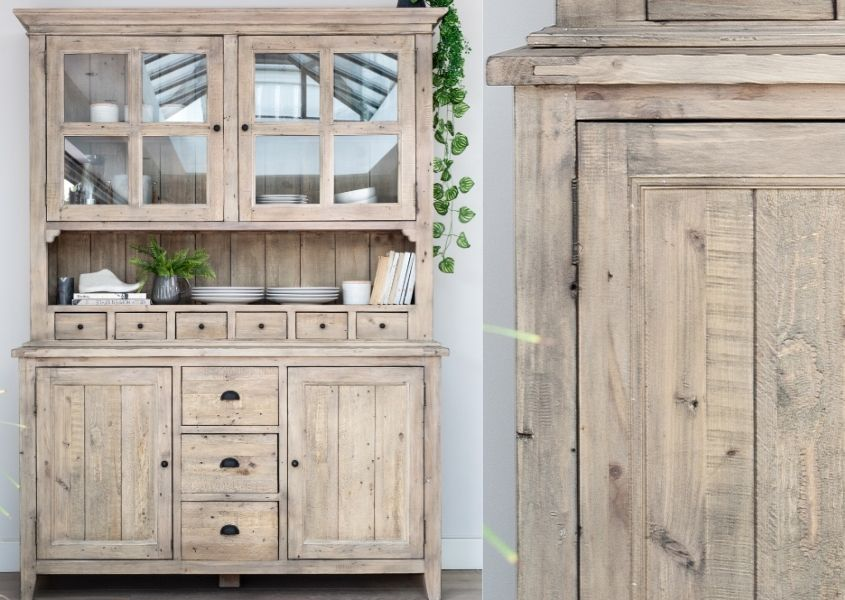 Reclaimed wood welsh dresser with close up of rustic wood