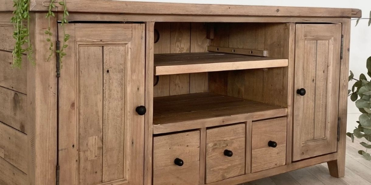 reclaimed wood tv unit with cupboards and drawers