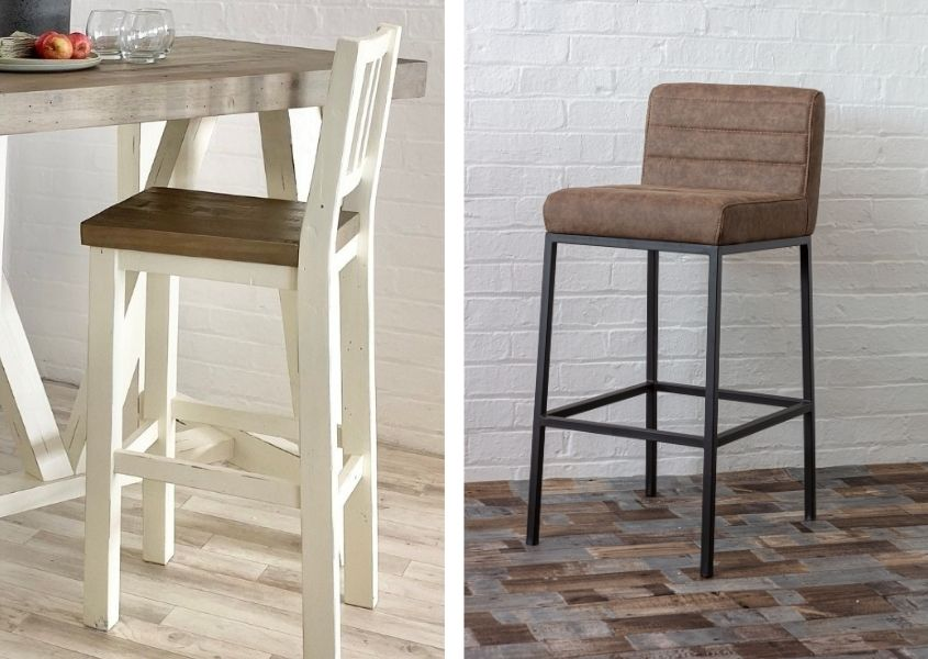 A white wooden bar stool and brown faux leather industrial bar stool