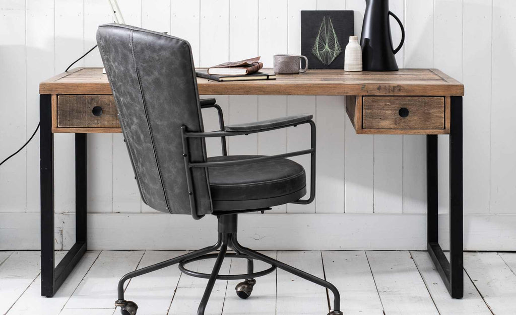 industrial desk with grey leather office chair