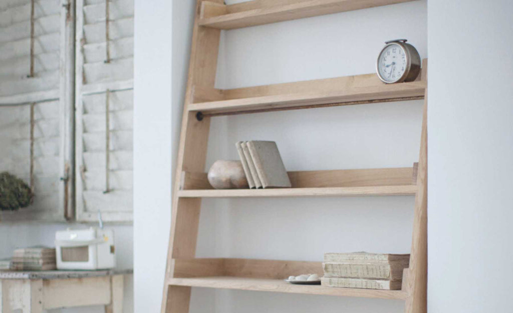 light oak ladder bookcase