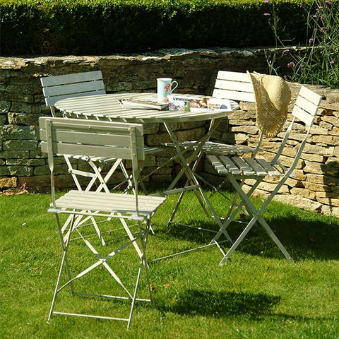 Outdoor metal Garden Bistro Set Table & 4 Chairs in Clay