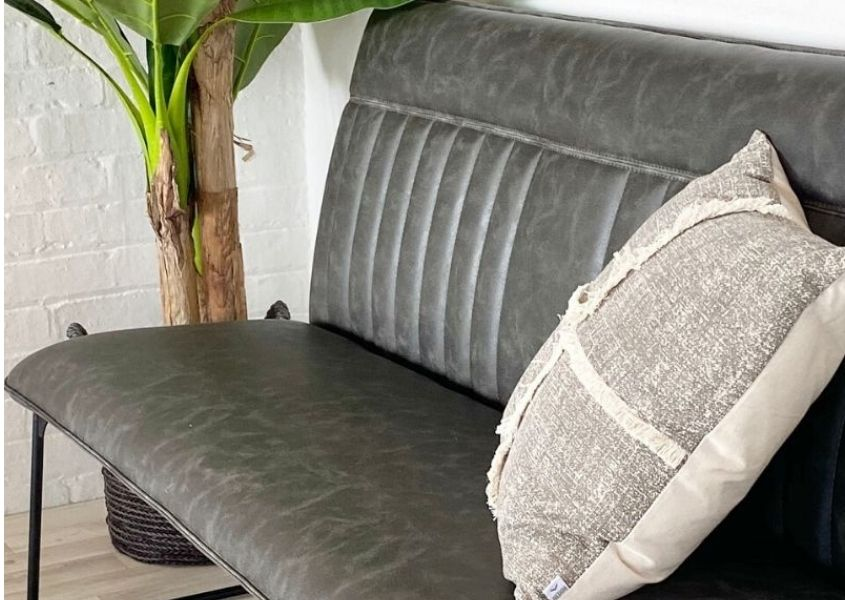 Grey faux leather dining bench with grey cushion