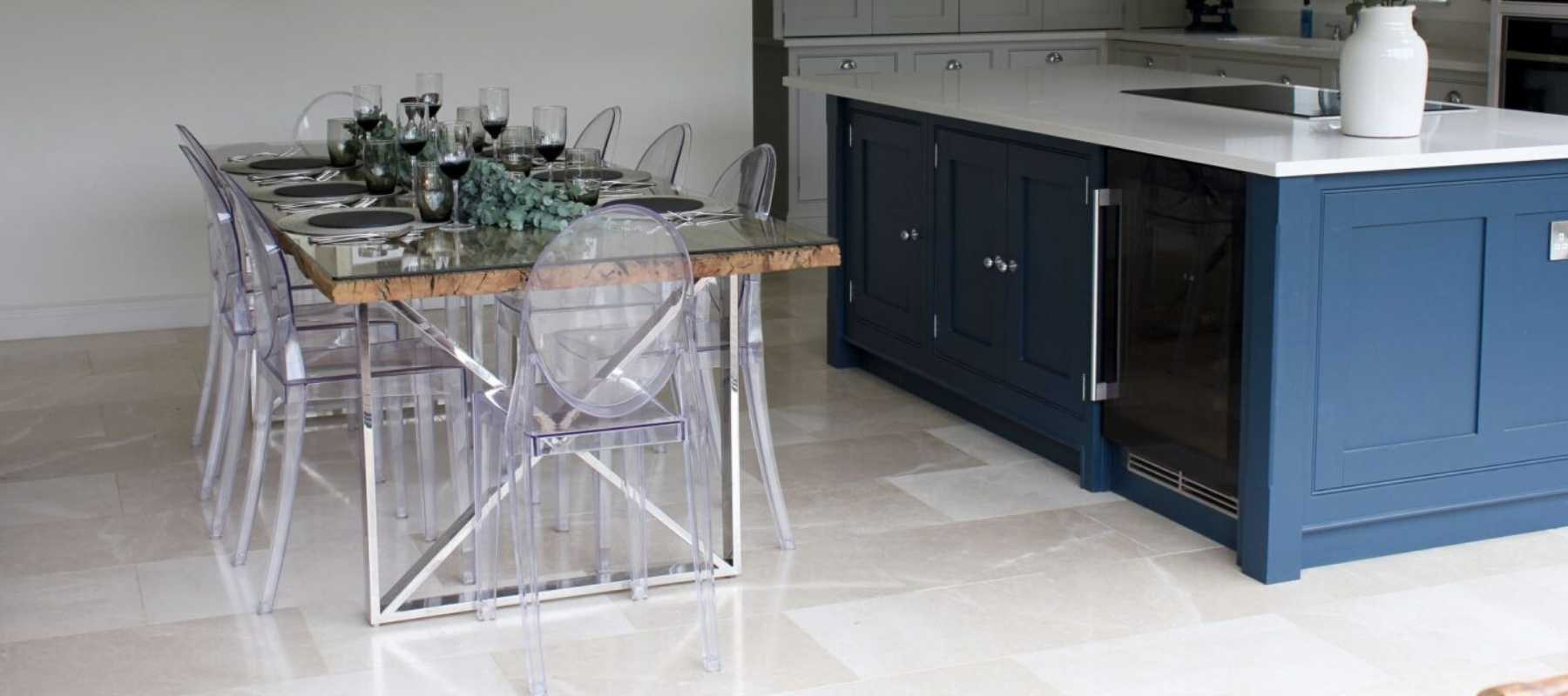 Kensington Reclaimed Wood Dining Table with blue kitchen island