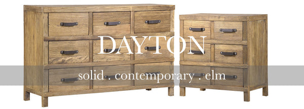 Dayton collection of solid contemporary elm furniture