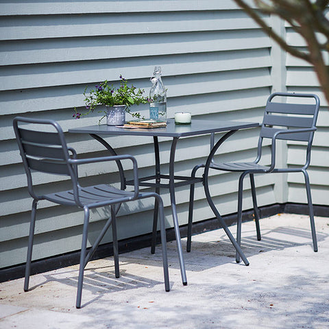 Charcoal Dean Street Garden Table and 2 Chairs in garden
