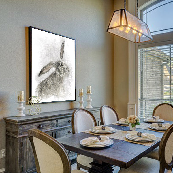 Hare Painting on Wall in Dining Room