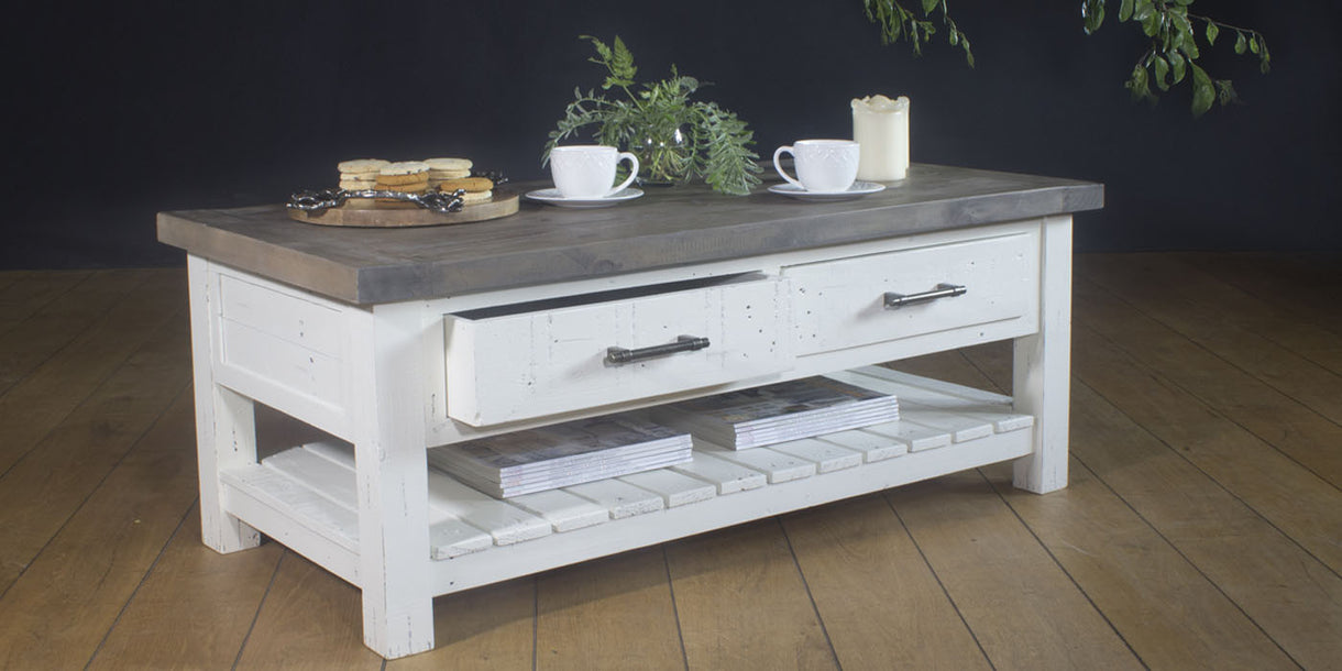 Dorset 2 Drawer Reclaimed Wood Coffee Table Lifestyle