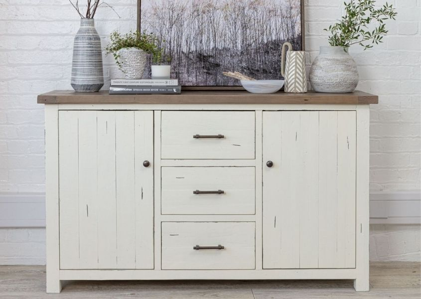 white painted large reclaimed wood sideboard