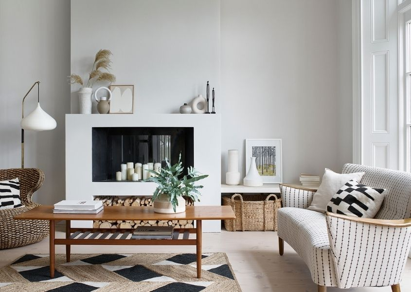 white painted living room with wooden coffee table