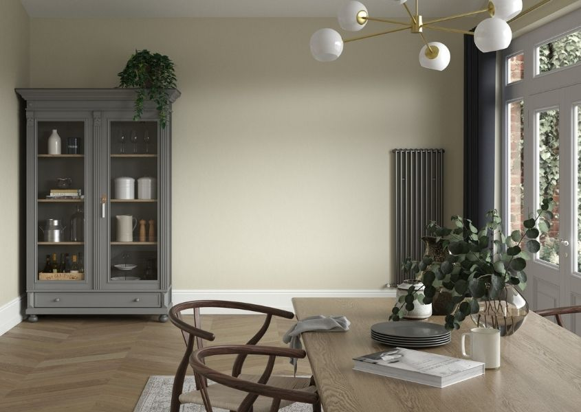 farmhouse dining table with grey painted dresser
