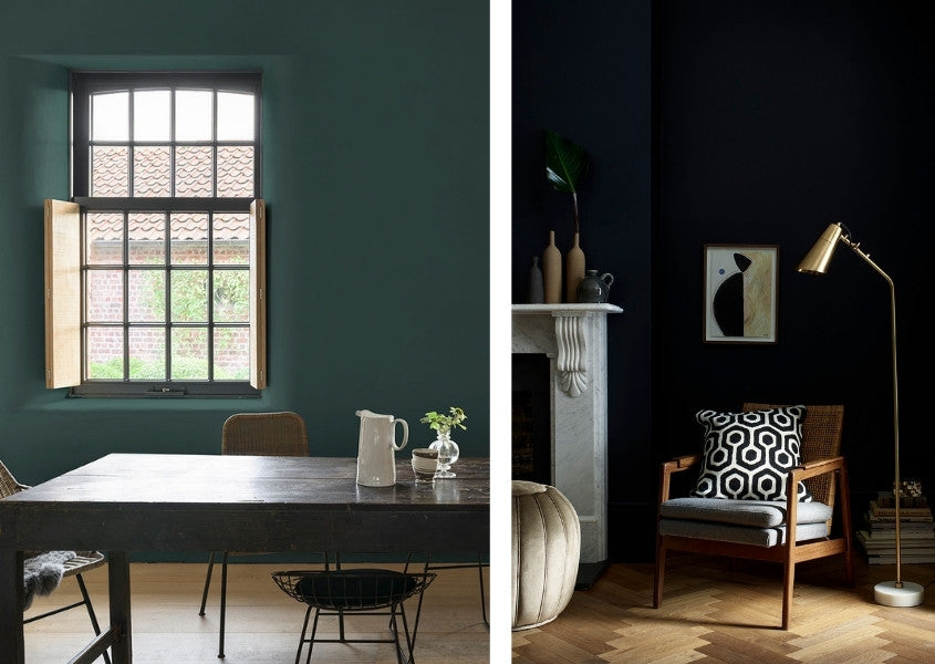 dark rustic dining table with dark wall