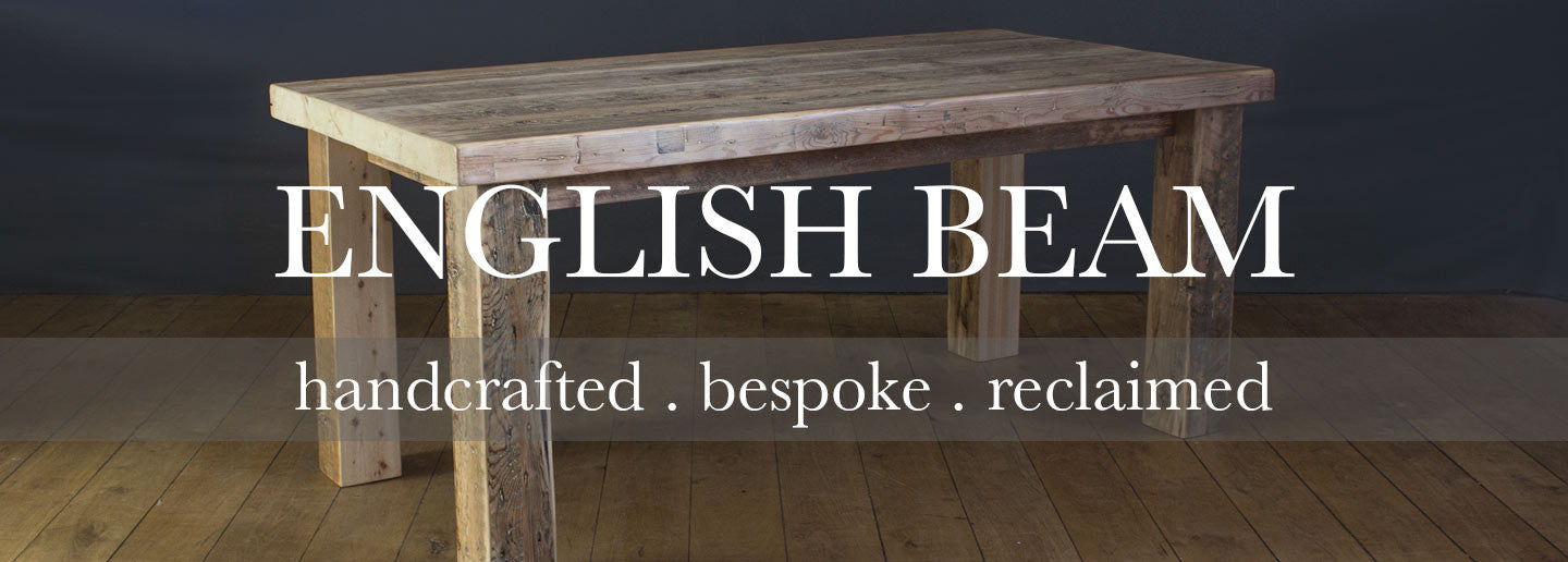Made in Britain English beam reclaimed wood dining table for dining room