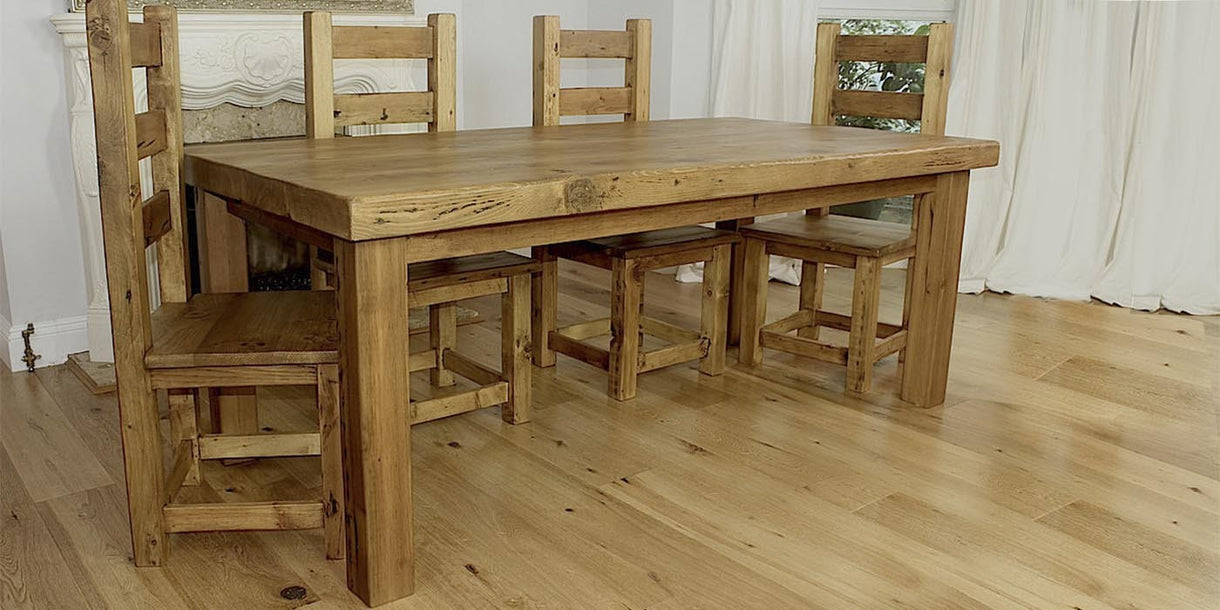 English Beam Reclaimed Wood Dining Table and Chairs