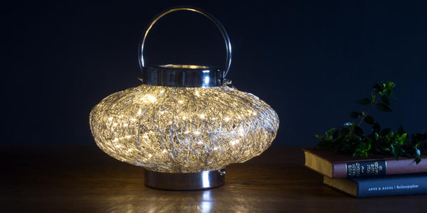 Contemporary Table Lamp Wire Weave Fairy Light