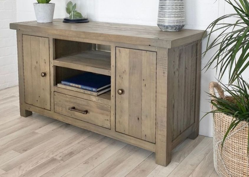 Rustic TV stand with two cupboards, bottom drawer and middle shelf