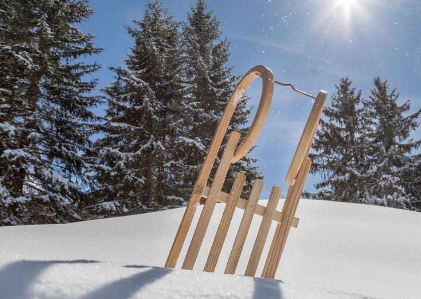 Wooden sledge stuck in snow with snow covered pine trees and blue sky