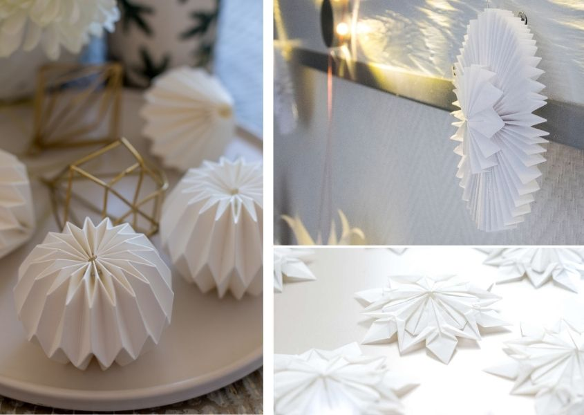 Three images of white paper origami Christmas baubles